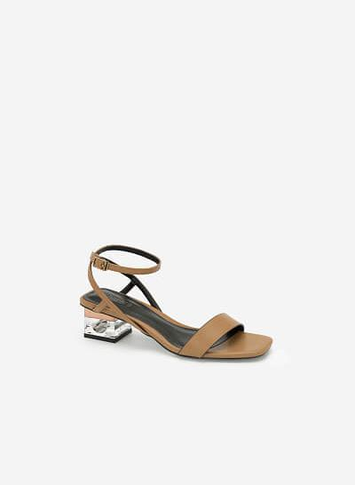 Giày Sandal Gót Trụ 2 Tầng Crystal - SDN 0651 - Màu Be Đậm