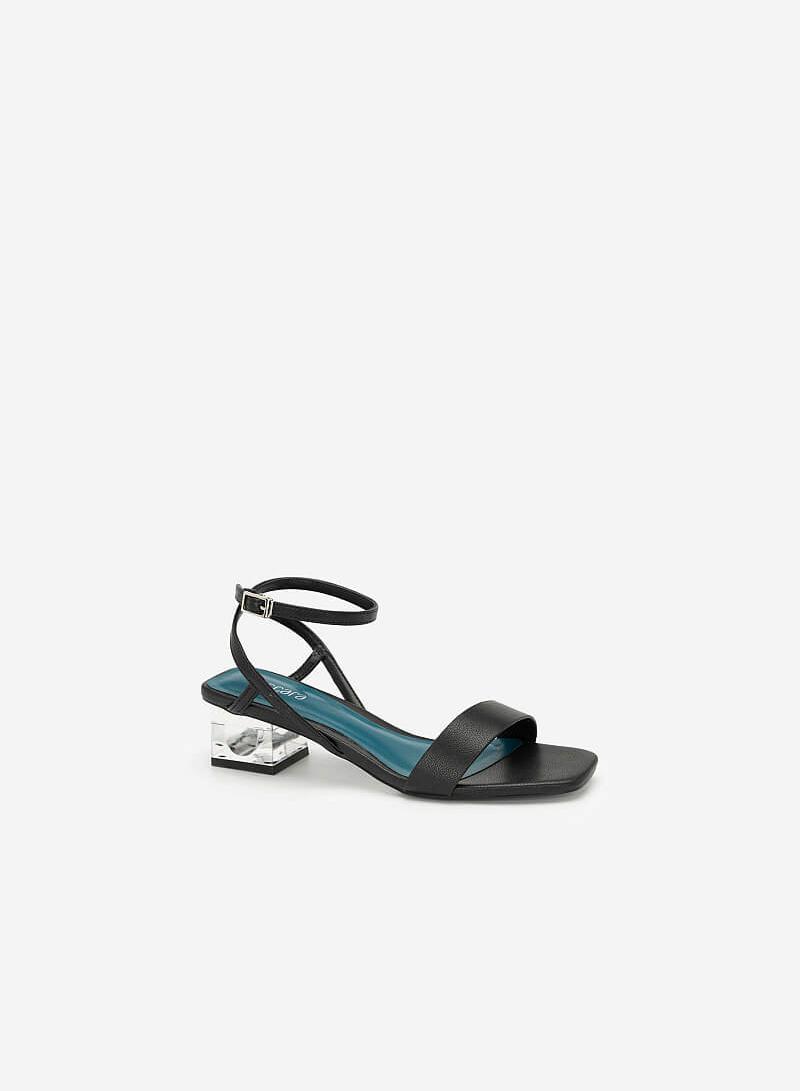 Giày Sandal Gót Trụ 2 Tầng Crystal - SDN 0651 - Màu Đen - VASCARA