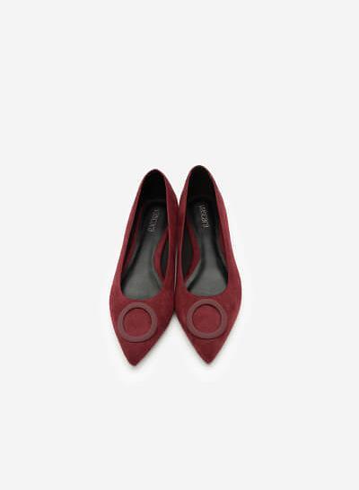 Giày Búp Bê Da Lộn Trang Trí Vòng Tròn - GBB 0415 - Màu Đỏ Đậm - VASCARA