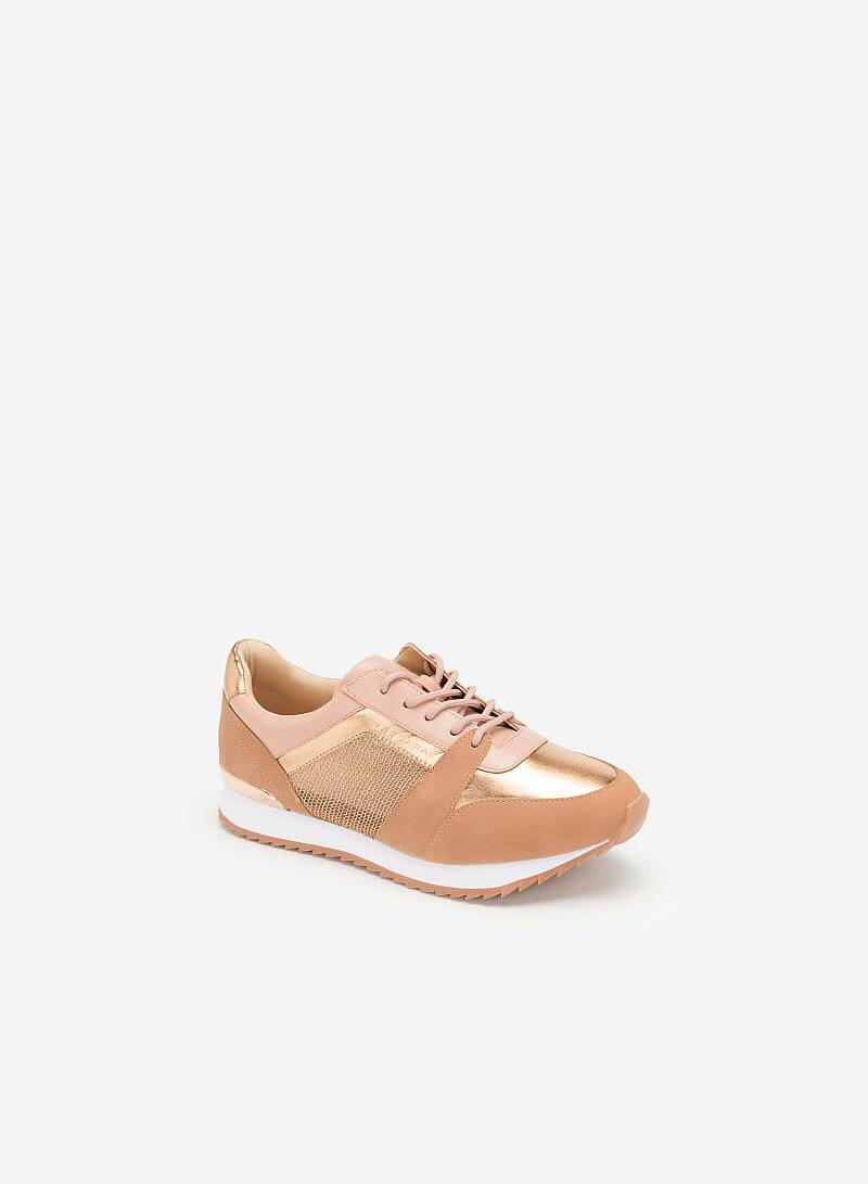 Giày Sneaker Phối Metallic Đan Lưới - SNK 0029 - Màu Hồng - vascara.com