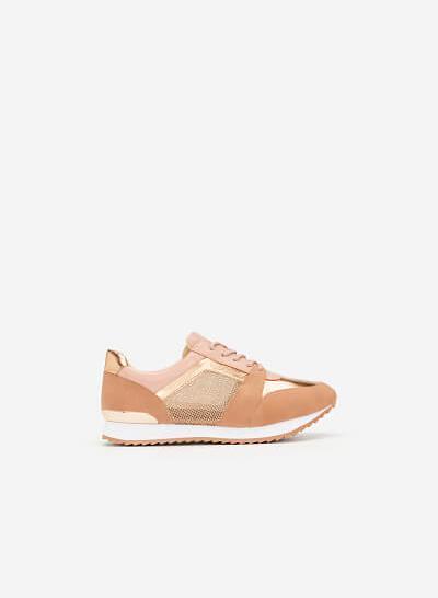 Giày Sneaker Phối Metallic Đan Lưới - SNK 0029 - Màu Hồng - VASCARA