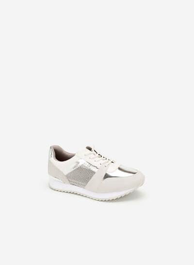 Giày Sneaker Phối Metallic Đan Lưới - SNK 0029 - Màu Trắng - vascara.com