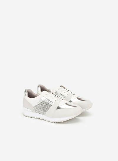 Giày Sneaker Phối Metallic Đan Lưới - SNK 0029 - Màu Trắng - VASCARA