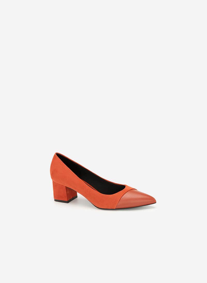 Giày Cao Gót Mũi Nhọn Phối Nubuck - BMN 0423 - Cam Đậm - VASCARA