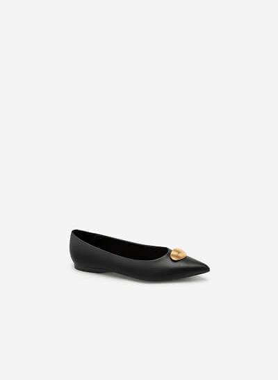 Giày Búp Bê Đính Trang Trí Khóa Kim Loại - GBB 0416 - Màu Đen