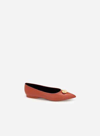 Giày Búp Bê Đính Trang Trí Khóa Kim Loại - GBB 0416 - Cam Đậm