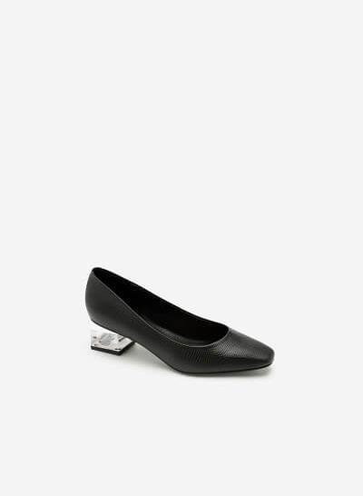 Giày Bít Vân Da Gót Metallic Crystal - BMN 0395 - Màu Đen