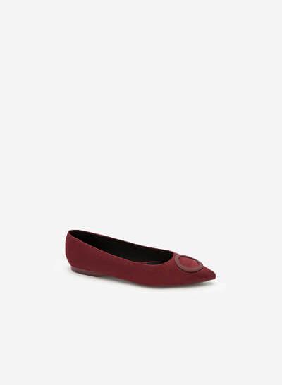 Giày Búp Bê Da Lộn Trang Trí Vòng Tròn - GBB 0415 - Màu Đỏ Đậm