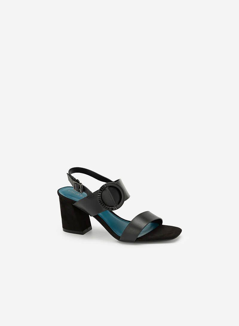 Giày Sandal Cao Gót Trang Trí Vòng Kim Loại - SDN 0656 - Màu Đen - VASCARA