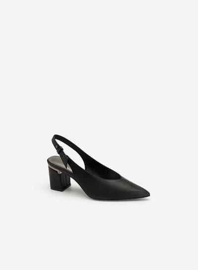 Giày Cao Gót Mũi Nhọn Gót Phối Metallic - BMN 0410 - Màu Đen