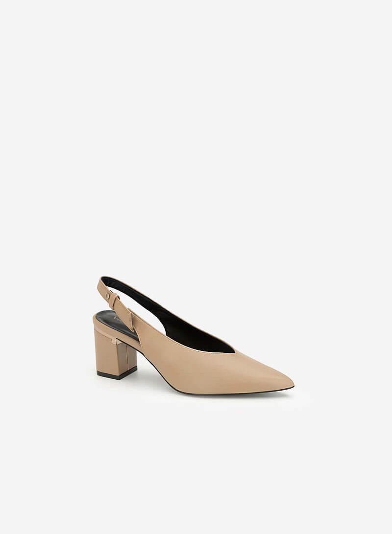 Giày Cao Gót Mũi Nhọn Gót Phối Metallic - BMN 0410 - Màu Be Đậm - VASCARA