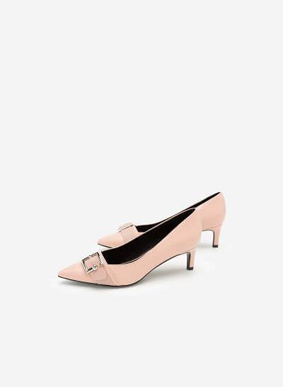 Giày Bít Mũi Nhọn Trang Trí Khóa Cài - BMN 0403 - Màu Hồng - VASCARA