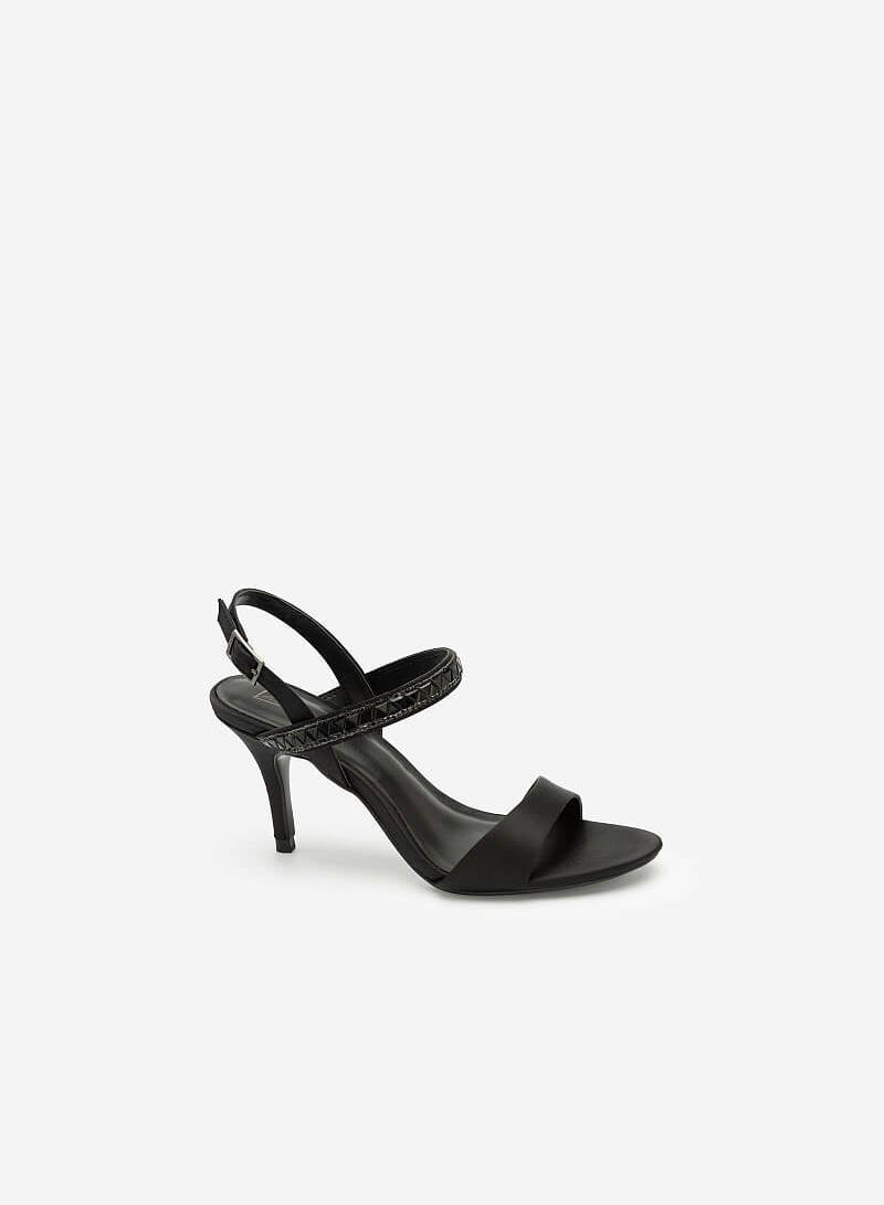 Giày Sandal Cao Gót Satin Quai Đính Pha Lê - SDN 0658 - Màu Đen - VASCARA