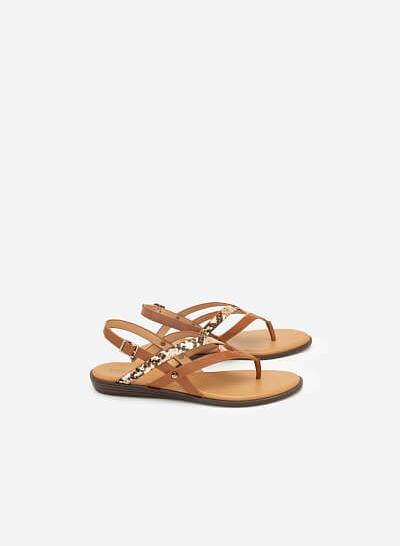 Giày Sandal Quai Đan Phối Vân Da Rắn - SDK 0306 - Màu Nâu - VASCARA
