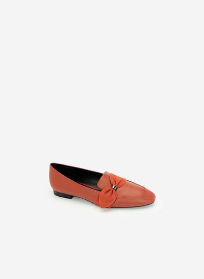 Giày Lười Đính Nơ Thanh Lịch - MOI 0097 - Màu Cam Đậm