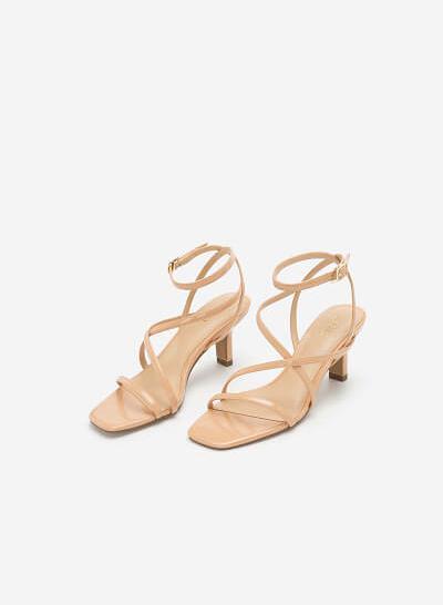 Giày Sandal Cao Gót Quai Mảnh - SDN 0666 - Màu Be - VASCARA