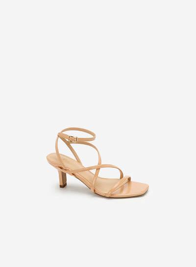 Giày Sandal Cao Gót Quai Mảnh - SDN 0666 - Màu Be