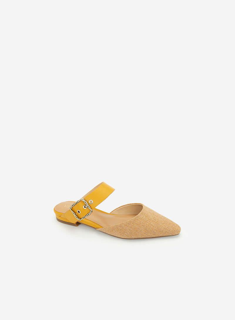 Hài Mule Phối Cói Quai Cài To Bản - DXP 0154 - Màu Vàng - VASCARA