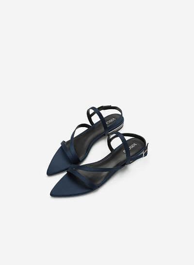 Giày Sandal Bệt Mũi Nhọn - SDK 0312 - Màu Xanh Navy - VASCARA