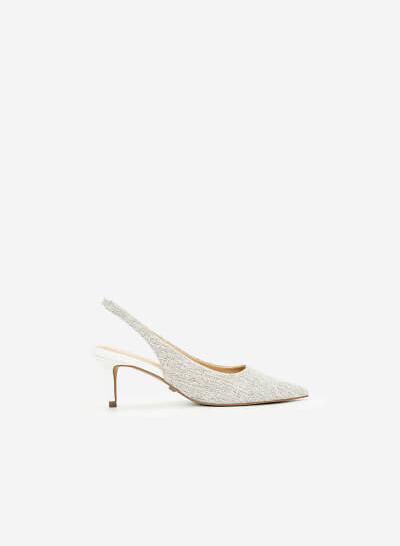 Giày Slingback Canvas - BMN 0442 - Màu Trắng