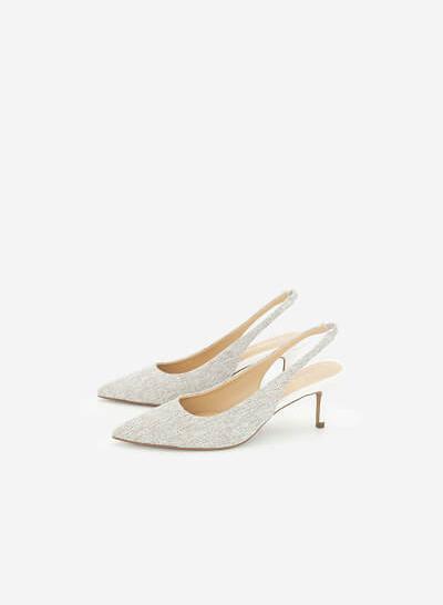 Giày Slingback Canvas - BMN 0442 - Màu Trắng - VASCARA