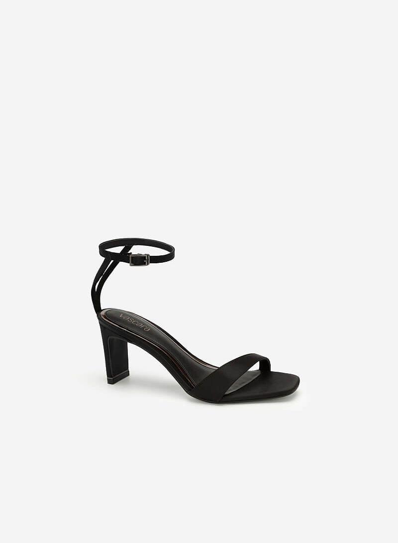 Giày Cao Gót Ankle Strap Satin Charming - SDN 0670 - Màu Đen - VASCARA