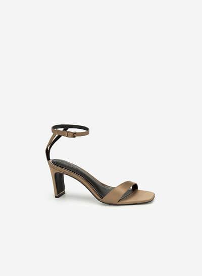 Giày Cao Gót Ankle Strap Satin Charming - SDN 0670 - Màu Be Đậm