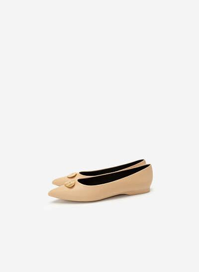 Giày Búp Bê Đính Trang Trí Khóa Kim Loại - GBB 0416 - Màu Be - VASCARA