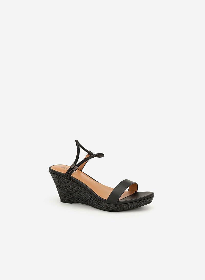 Giày Đế Xuồng Custom Ankle Strap - SDX 0418 - Màu Đen - VASCARA