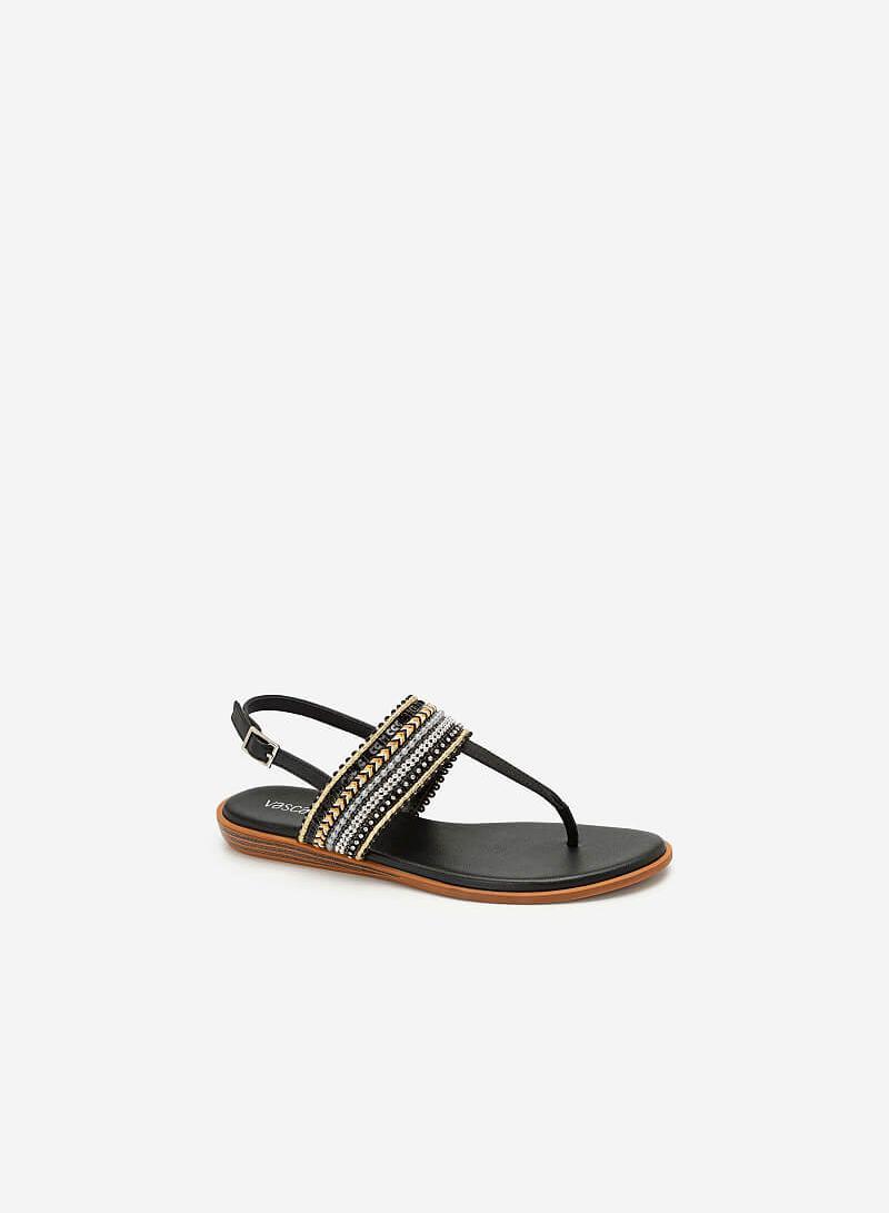 Giày Sandal Quai Ngang Họa Tiết Thổ Cẩm - SDK 0310 - Màu Đen - VASCARA
