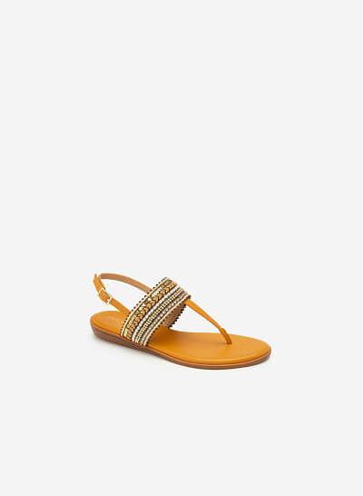 Giày Sandal Quai Ngang Họa Tiết Thổ Cẩm - SDK 0310 - Vàng Đậm