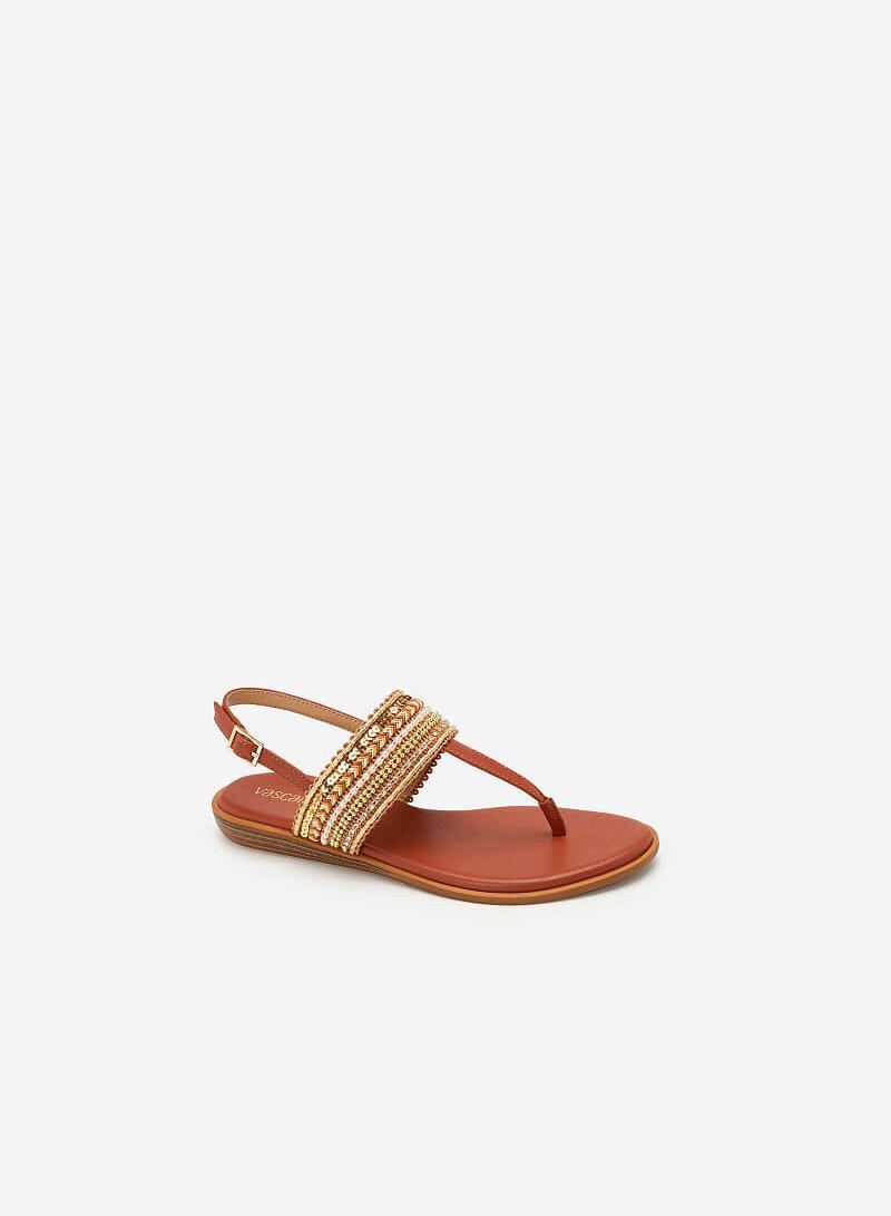 Giày Sandal Quai Ngang Họa Tiết Thổ Cẩm - SDK 0310 - Cam Đậm - VASCARA