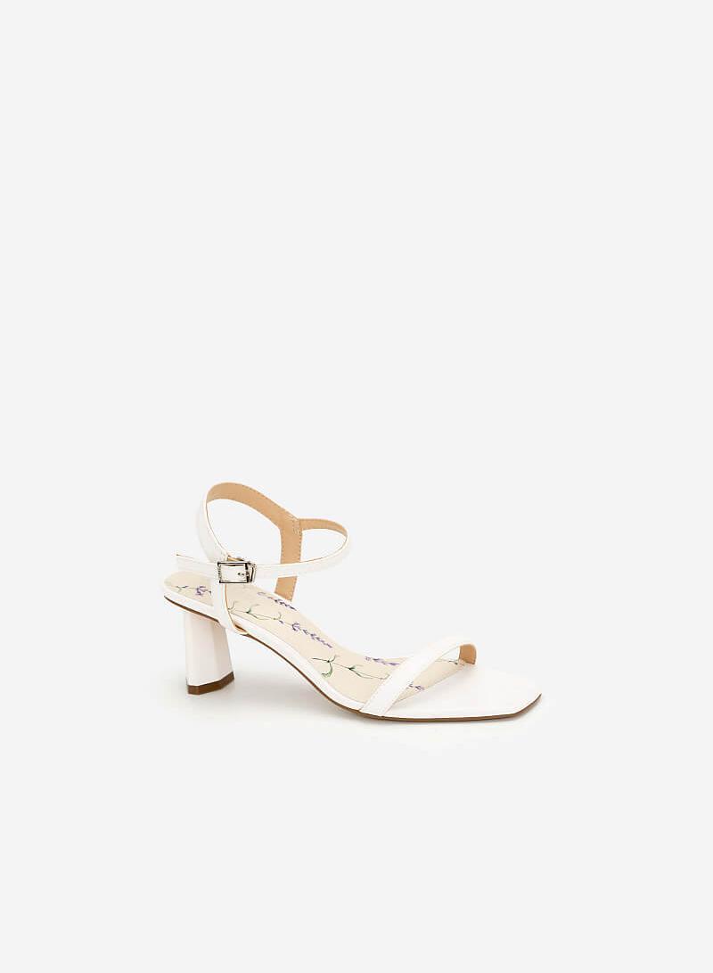 Giày Sandal Gót Hình Học (Lavender Collection) - SDN 0667 - Màu Trắng - VASCARA