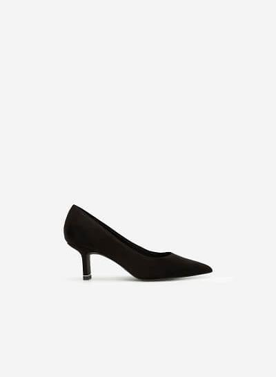 Giày Cao Gót Bít Mũi Nhọn Da Lộn - BMN 0422 - Màu Đen