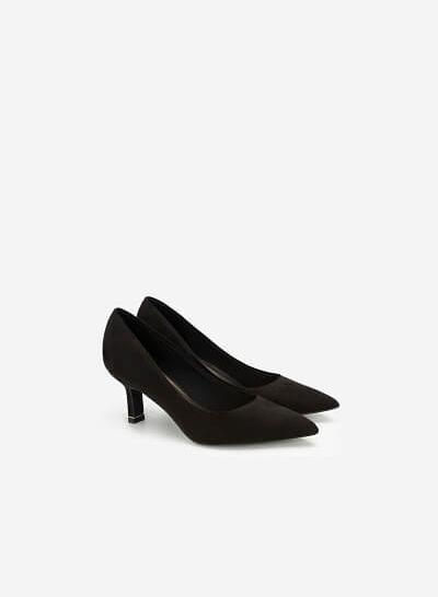 Giày Cao Gót Bít Mũi Nhọn Da Lộn - BMN 0422 - Màu Đen - VASCARA