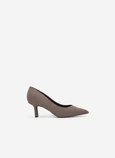 Giày Cao Gót Bít Mũi Nhọn Da Lộn - BMN 0422 - Màu Xám