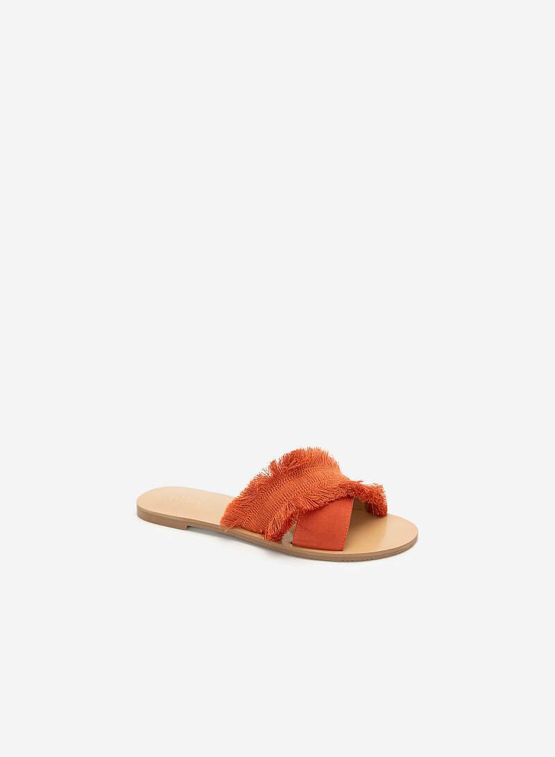Dép Quai Chéo Bản Lớn Boho Style - DXP 0155 - Màu Cam Đậm - VASCARA