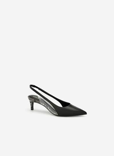 Giày Slingback Crystal Vân Da Rắn - BMN 0421 - Màu Đen
