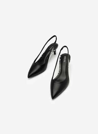 Giày Slingback Crystal Vân Da Rắn - BMN 0421 - Màu Đen - VASCARA