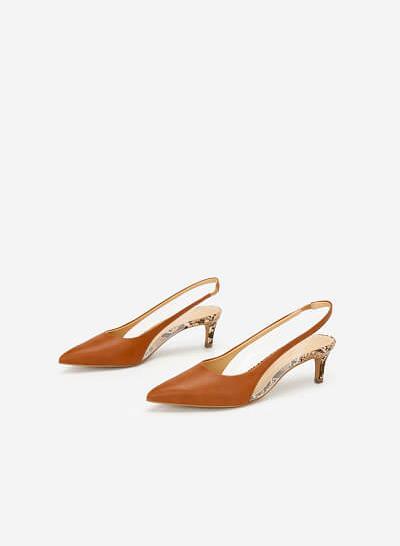 Giày Slingback Crystal Vân Da Rắn - BMN 0421 - Màu Nâu - VASCARA