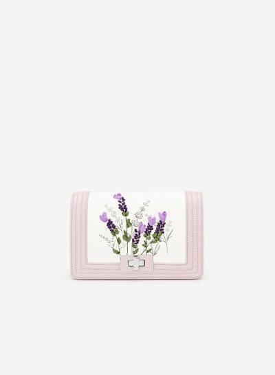 Túi Đeo Chéo Thêu Hoa Lavender - SHO 0165 - Màu Tím Nhạt