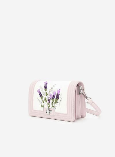 Túi Đeo Chéo Thêu Hoa Lavender - SHO 0165 - Màu Tím Nhạt - VASCARA