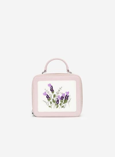 Túi Hộp Thêu Hoa Lavender - SAT 0259 - Màu Tím Nhạt