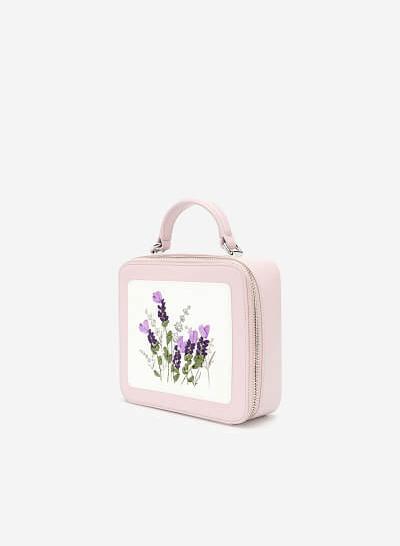 Túi Hộp Thêu Hoa Lavender - SAT 0259 - Màu Tím Nhạt - VASCARA