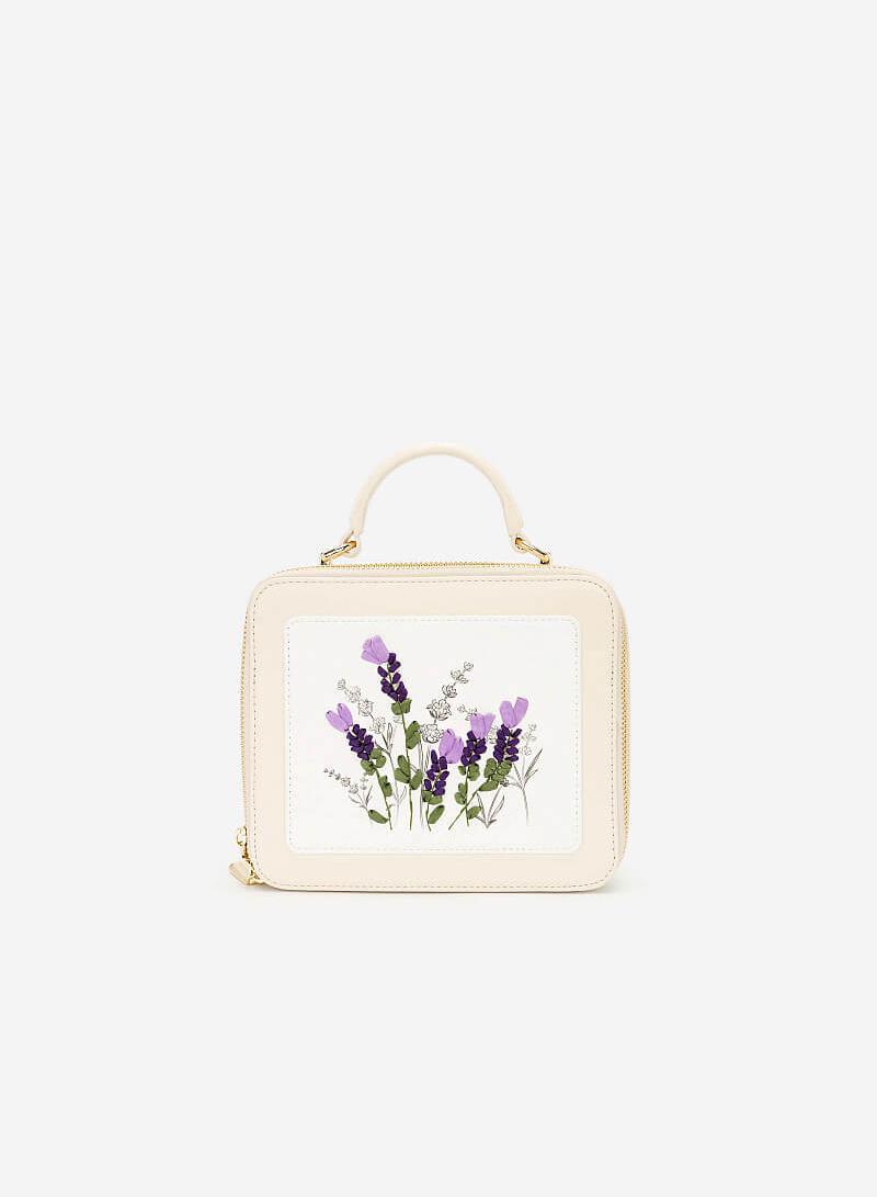 Túi Hộp Thêu Hoa Lavender - SAT 0259 - Màu Kem - VASCARA