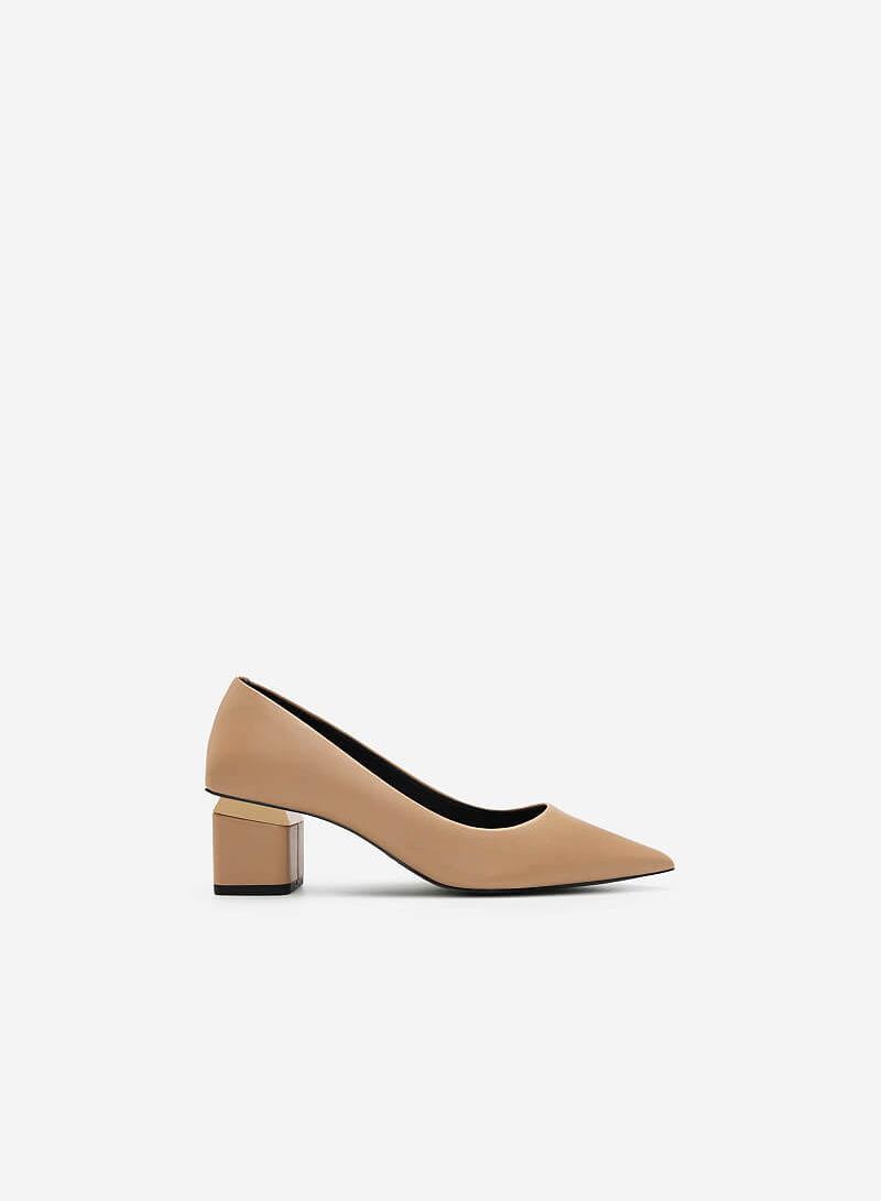 Giày Bít Mũi Nhọn Gót Trụ Phối Kim Loại - BMN 0459 - Màu Be - VASCARA