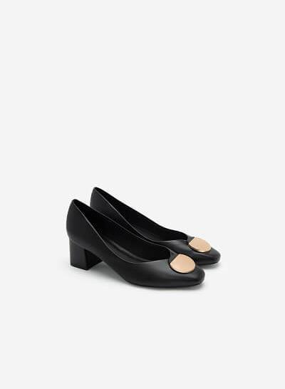 Giày Gót Vuông Phối Khóa Cài Hình Tròn - BMN 0454 - Màu Đen - VASCARA