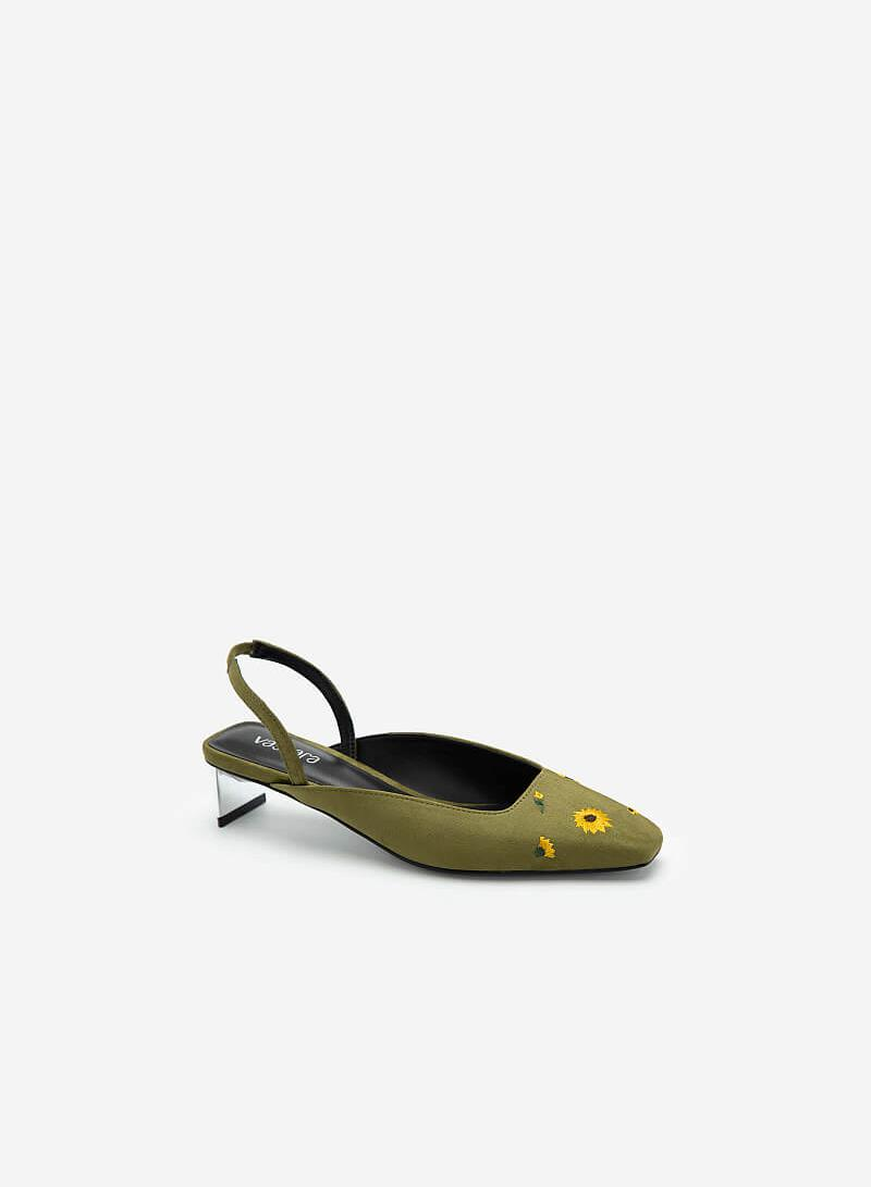 Giày Slingback Thêu Hoa Cúc - BMN 0453 - Màu Xanh Lá - VASCARA