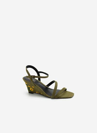 Giày Đế Xuồng Quai Mảnh Gót Thêu Hoa Cúc - SDX 0424 - Màu Xanh Lá