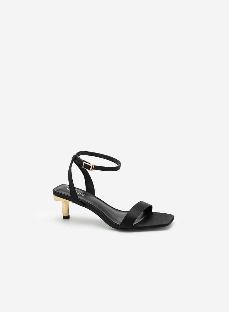 Giày Ankle Strap Gót Trụ Metallic - SDN 0680 - Màu Đen - vascara.com